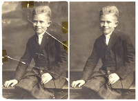 Black and white photo restoration before and after