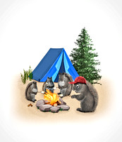 Camping Squirrel Family