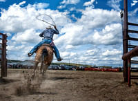 A cowboy on his horse, leaving the gate to rope a calf, while the dirt is flying in the air.
